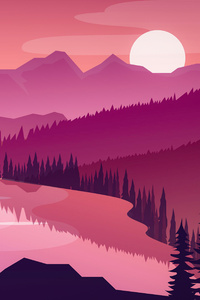 240x400 Flat Minimal Morning Landscape Lake 5k