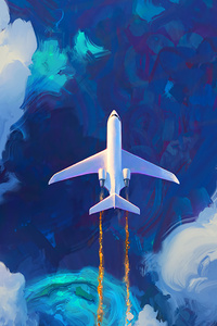 Flying Plane In Clouds Artwork