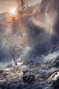 1242x2688 Fog Nature Sunbeam Waterfall Winter