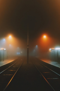 750x1334 Foggy Train Platform 4k