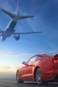 720x1280 Ford Mustang Airplane