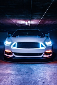 720x1280 Ford Mustang Neon Lights 5k