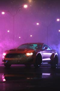 720x1280 Ford Mustang Rain Vaporwave 5k