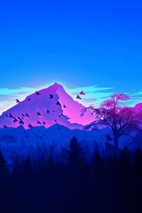 Forest Birds Mountains Vaporwave Minimalism