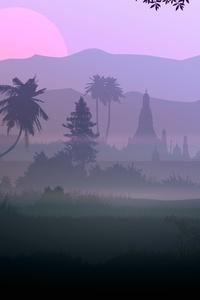 1080x2280 Forest Fog Silhouette 5k