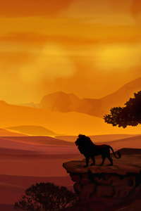 1280x2120 Forest Lion Morning Sunrise Illustration 4k
