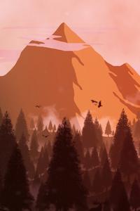 1440x2960 Forest Mountain Minimal 4k