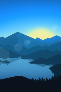 640x1136 Forest Mountains Sunset Cool Weather Minimalism