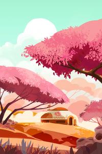 640x1136 Forest Tree Illustration 4k