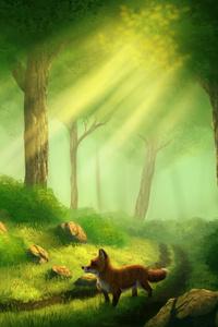 Fox Alone In Forest Digital Art