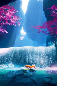 640x960 Fox Crossing Purple Water 4k