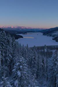 Frozen Dam Landscape 4k