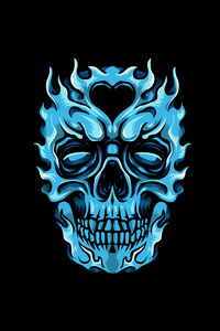 640x1136 Frozen Glowing Skull Minimal 4k