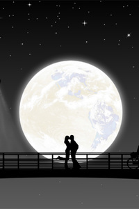 1440x2560 Full Moon Night Couple Kiss