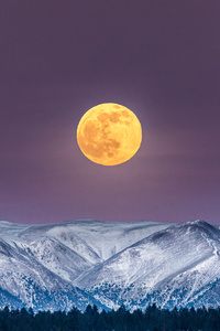 1080x2160 Full Moon Over White Mountain Peak 4k