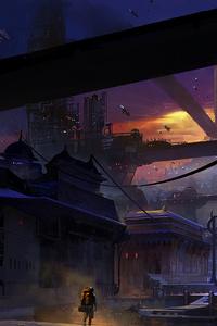 Future City Spaceships Buildings Man Walking Digital Art