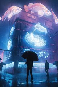 Future Cyberpunk City Life Raining 4k