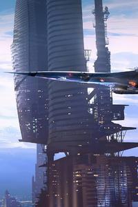 Future Scifi Aircraft Buildings 4k