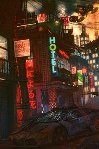 Futuristic Cyber City Lamborghini Night 4k