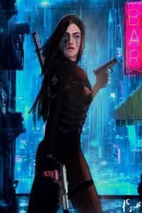 1080x2160 Futuristic Girl Cyborg