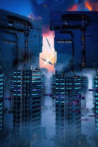 480x854 Futurustic City Scifi Otoy 5k