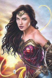 1125x2436 Gal Gadot Wonder Woman Colored Pencil Art 4k