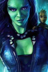 1080x2160 Gamora With Baby Groot Guardians Of The Galaxy