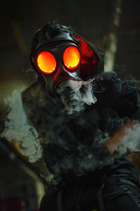 1080x2280 Gas Mask Glowing Eyes 5k