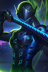 240x320 Genji Overwatch Art 4k