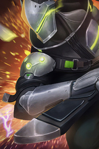750x1334 Genji Overwatch Fan Art 4k