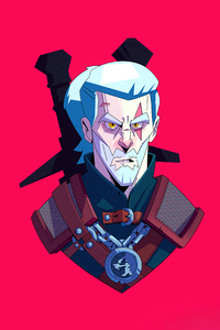 480x854 Geralt Of Rivia From The Witcher Series Minimal 5k