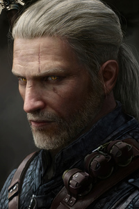 320x480 Geralt Of Rivia Witcher 3 Glowing Eyes 4k