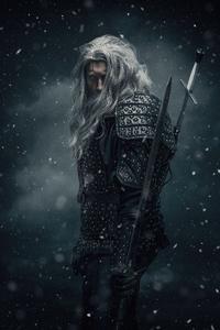 240x320 Geralt Of Rivia Witcher Cosplay 5k