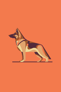 1080x2280 German Shepherd Illustration