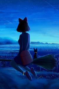 320x480 Ghibi Kiki Cityscape Fanart 5k