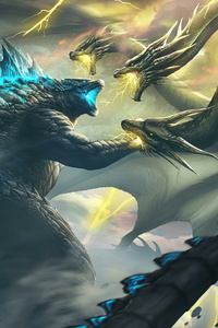 320x568 Ghidorah Godzilla King Of The Monsters 4k