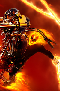 750x1334 Ghost Rider Burning Guy 4k