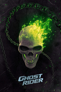 640x1136 Ghost Rider Green Flame 5k