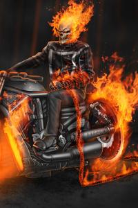 640x1136 Ghost Rider In Bike