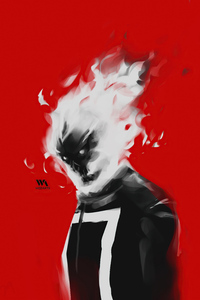 750x1334 Ghost Rider Minimal Paint Art