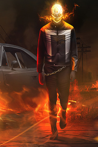 640x960 Ghost Rider With Car