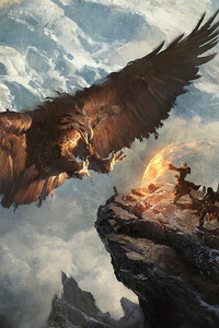 Giant Eagle Vs Knight Mage Mountains Fantasy Landscape