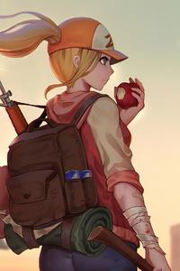 Girl Adventure Back Pack Eating Apple 4k