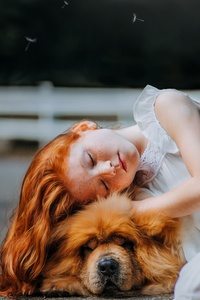 750x1334 Girl And Dog Sleeping 5k
