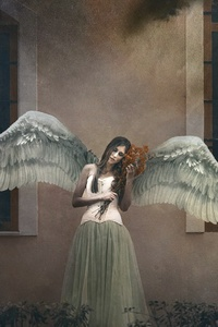 640x1136 Girl Angel Wings