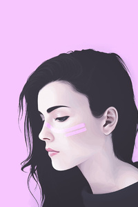 Girl Artwork Pink Background