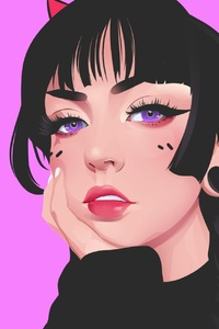 320x480 Girl Artwork Pink