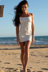 1080x2280 Girl Beach White Dress 5k