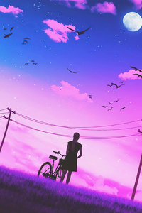720x1280 Girl Bicycle Vaporwave Art 4k