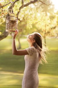 Girl Birdcage Depth Of Field 4k
